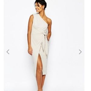 ASOS drape knot front one shoulder midi dress